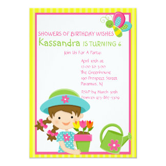 Yellow Striped Spring Girl Birthday Invitation