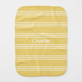 Yellow Stripes custom monogram burp cloth