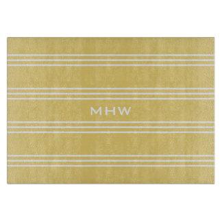 Yellow Stripes custom monogram cutting boards