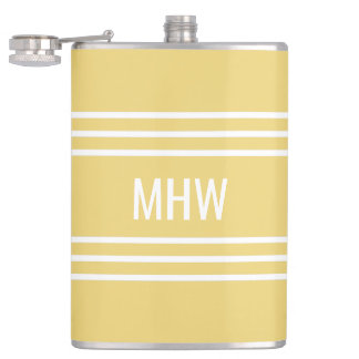 Yellow Stripes custom monogram flask