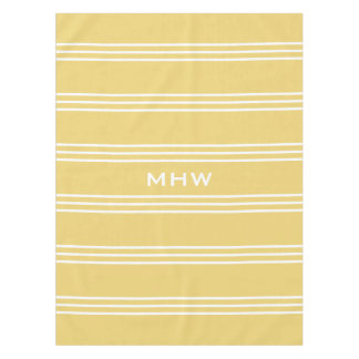 Yellow Stripes custom monogram table cloths