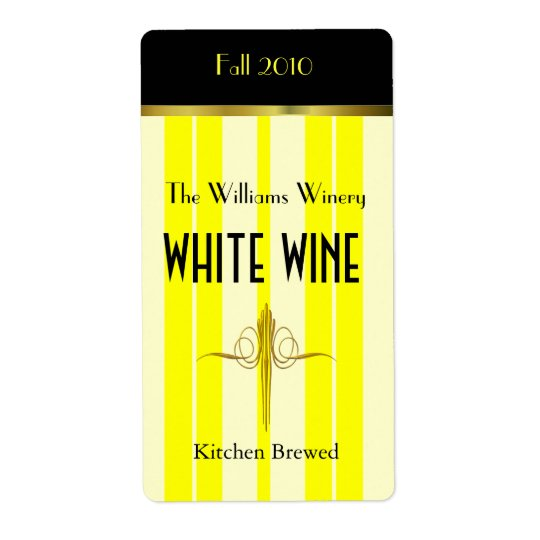 Yellow Stripes Home Made Wine Labels