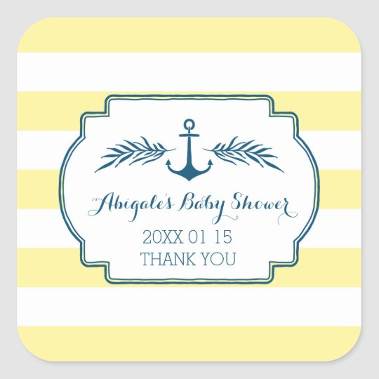Yellow Stripes Nautical Baby Shower Favour Sticker