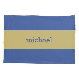 Yellow Stripes on ANY Color Custom Monogram Pillowcase