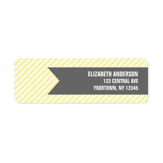 Yellow Stripes Pattern Address Labels