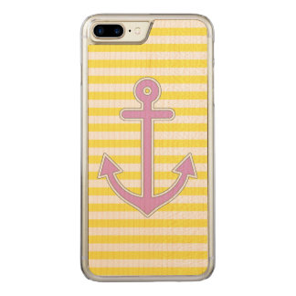 Yellow Stripes Purple Anchor Nautical Carved iPhone 8 Plus/7 Plus Case