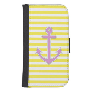 Yellow Stripes Purple Anchor Nautical Samsung S4 Wallet Case