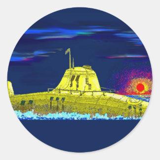 Yellow submarine round stickers