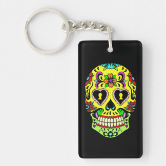 Yellow Sugar Skull Day of the Dead Key Chain