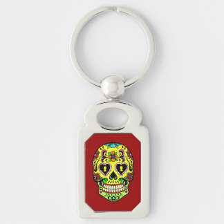 Yellow Sugar Skull Day of the Dead Key Chain Silver-Colored Rectangle Key Ring