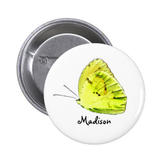 Yellow Sulphur Butterfly Personalized Button