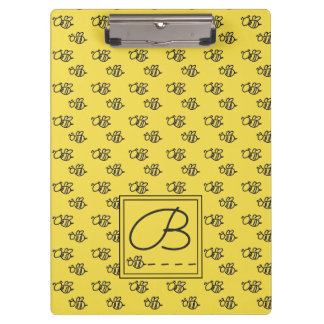 Yellow Summer Bees Pattern Clipboard