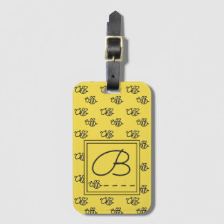 Yellow Summer Bees Pattern Luggage Tag