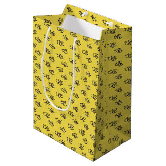 Yellow Summer Bees Pattern Medium Gift Bag