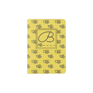 Yellow Summer Bees Pattern Passport Holder
