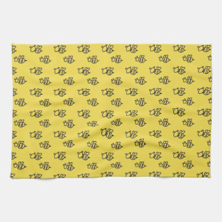 Yellow Summer Bees Pattern Tea Towel