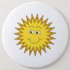 Yellow Summer Sun with a Happy Face. 6 Cm Round Badge