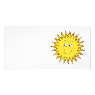 Yellow Summer Sun with a Happy Face. Custom Photo Card