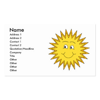 Yellow Summer Sun with a Happy Face. Pack Of Standard Business Cards