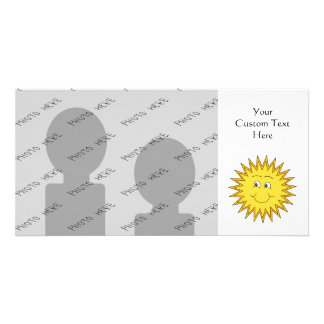 Yellow Summer Sun with a Happy Face. Personalized Photo Card