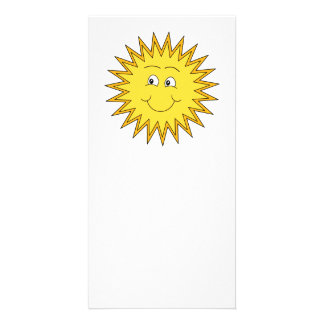 Yellow Summer Sun with a Happy Face Personalized Photo Card