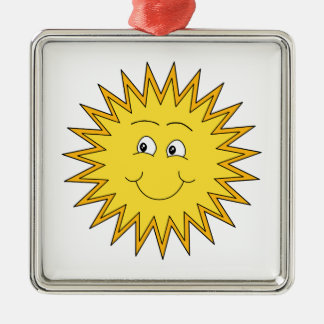 Yellow Summer Sun with a Happy Face. Silver-Colored Square Decoration