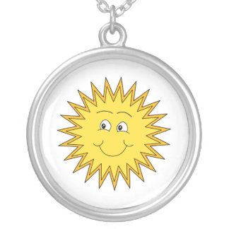 Yellow Summer Sun with a Happy Face. Silver Plated Necklace