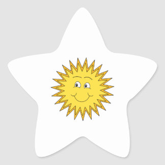 Yellow Summer Sun with a Happy Face. Star Sticker