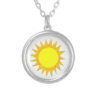 Yellow Summer Sunshine Outdoor Camp Nature Fun Silver Plated Necklace