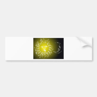 Yellow Sun and Moon Bumper Stickers