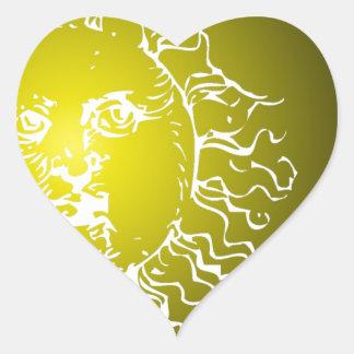 Yellow Sun and Moon Heart Sticker