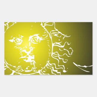 Yellow Sun and Moon Rectangular Sticker