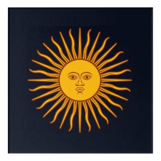 Yellow Sun Astrology Planet Symbol Blue Acrylic Wall Art
