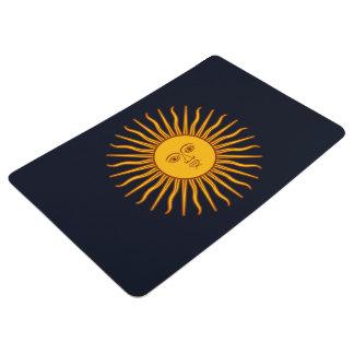Yellow Sun Astrology Planet Symbol Dark Blue Floor Mat
