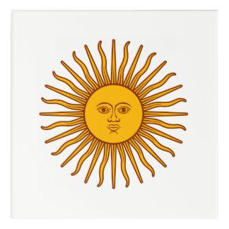 Yellow Sun Astrology Planet Symbol White Acrylic Print