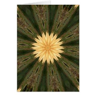 Yellow Sun Green Grass Kaleidoscope Greeting Cards