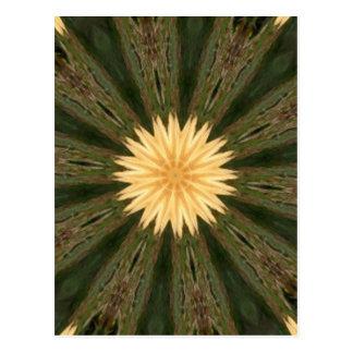 Yellow Sun Green Grass Kaleidoscope Post Card