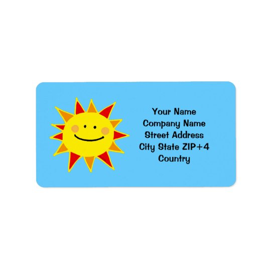 Yellow sun return address address label