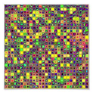 Yellow 'Sun Spots' Colorful Mosaic Tiles Pattern Art Photo