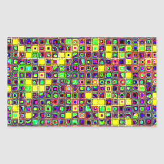 Yellow 'Sun Spots' Colorful Mosaic Tiles Pattern Rectangular Sticker