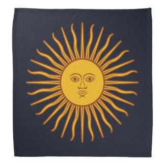 Yellow Sun Symbol Drawing On Dark Blue Bandana