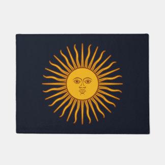 Yellow Sun Symbol Drawing On Dark Blue Doormat