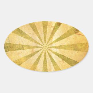Yellow Sunburst Grungy Oval Sticker