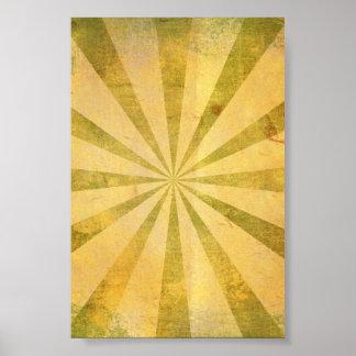 Yellow Sunburst Grungy Poster