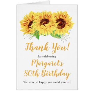 Yellow Sunflower 80th Birthday Thank You Card