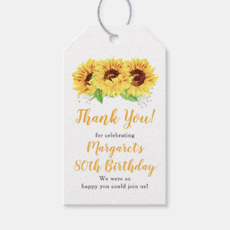 Yellow Sunflower 80th Birthday Thank You Gift Tags
