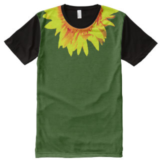 Yellow Sunflower Accenting Collar on Green All-Over Print T-Shirt