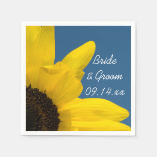 Yellow Sunflower and Blue Sky Wedding Paper Serviettes