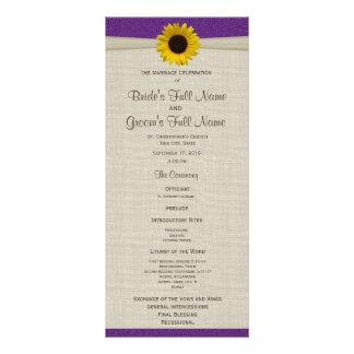 Yellow Sunflower and Burlap Purple Wedding Program Rack Card
