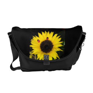 Yellow Sunflower And Two Ladybugs Commuter Bag